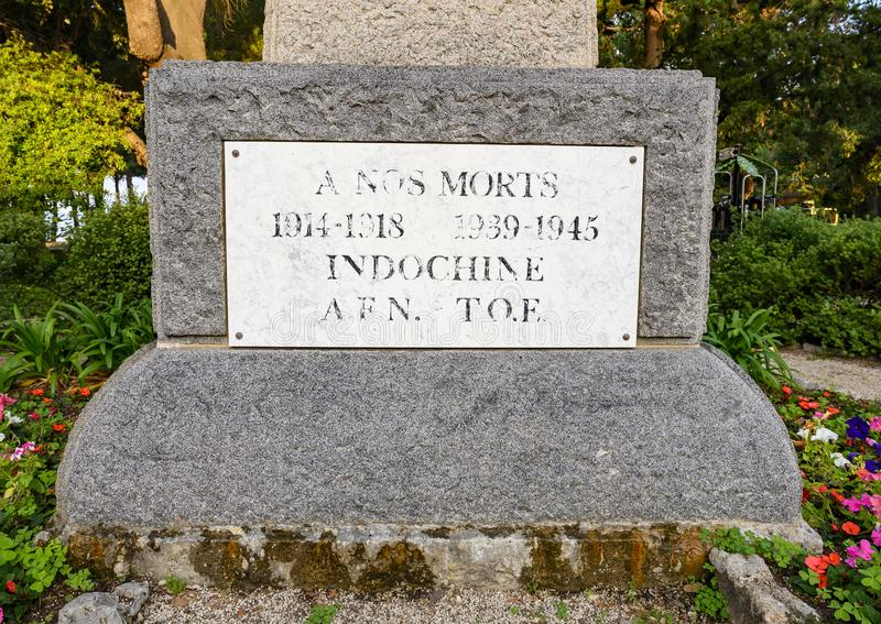 Front view of the base of the monument to the Dead of Juan-Les-Pins in the park La Pineda royalty free stock photography
