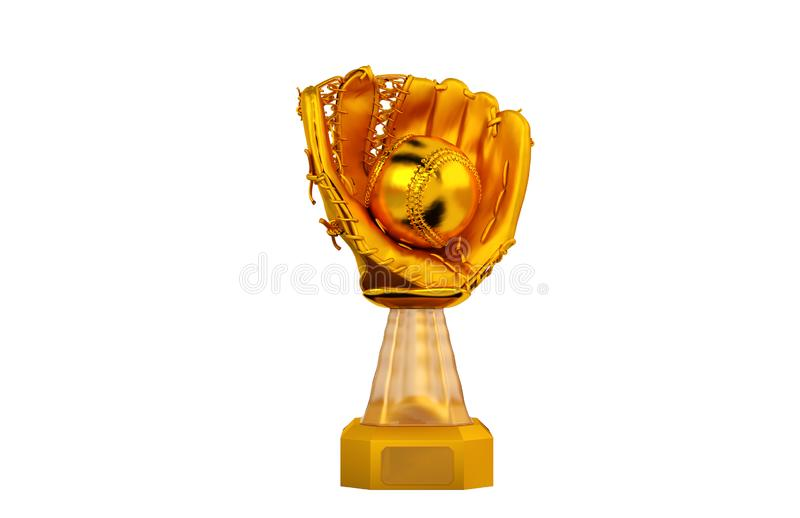 Front View of Baseball Gold Trophy with Glove and Ball stock illustration