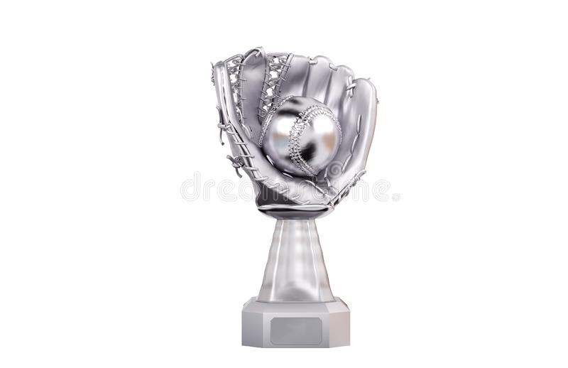 Front View of Baseball Silver Trophy with Glove and Ball royalty free illustration