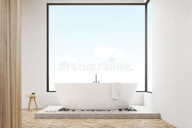 Download Front View Of Bathroom With Wooden Wall, Toned Stock Illustration - Image: 83722929