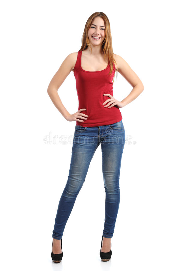 Front view of a beautiful standing woman model posing stock photos