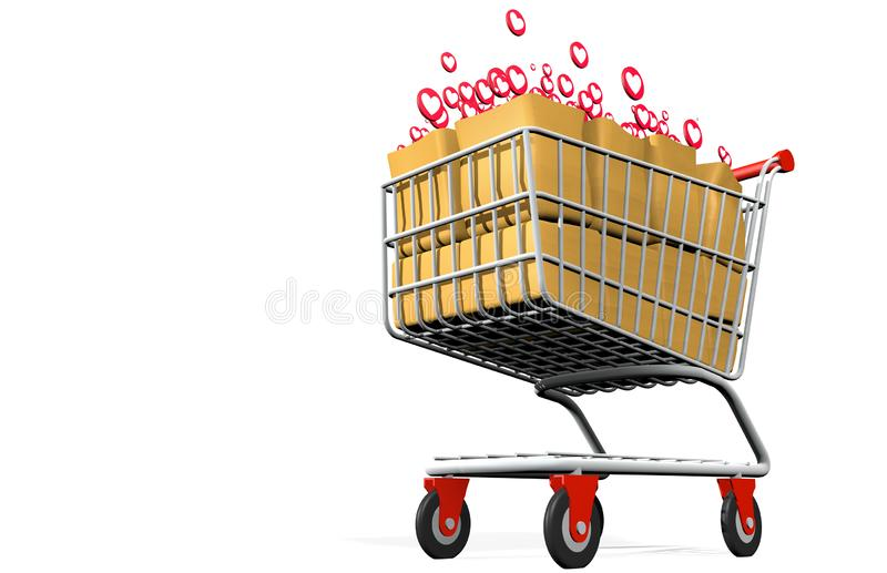 Front view from below of shopping cart loaded with paper bags full of I LOVE round icons on white background - 3D Illustration 库存例证