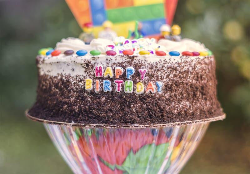 Birthday Cake. Front View of Birthday Cake stock photos