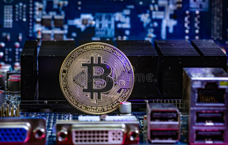 Front view of Bitcoin cryptocurrency physical coin stock images