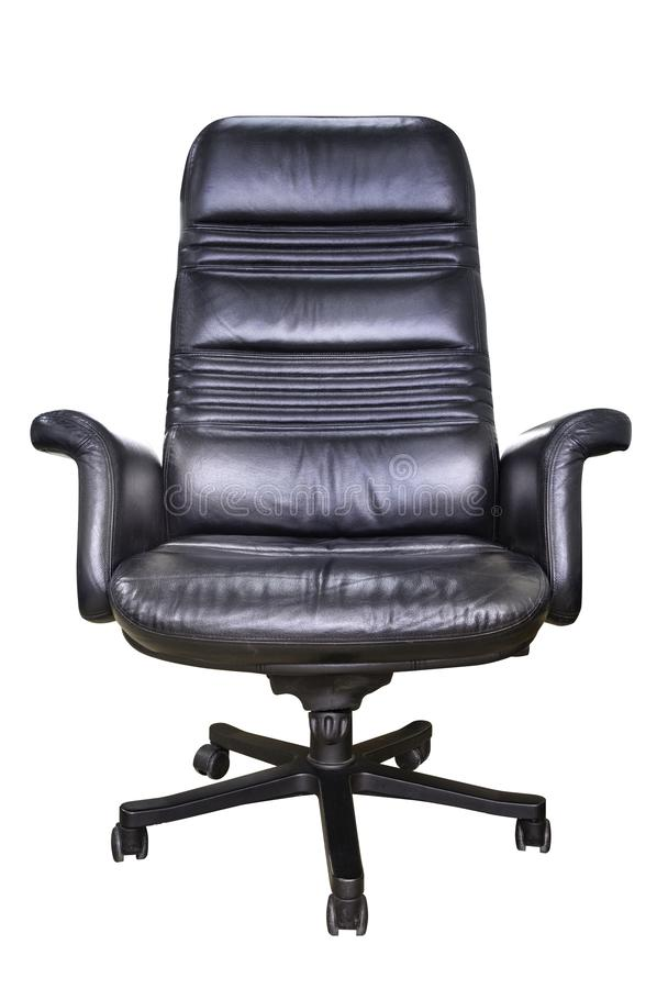 Front view of Black genuine leather office chair for executive officer, isolated on white background with clipping stock image
