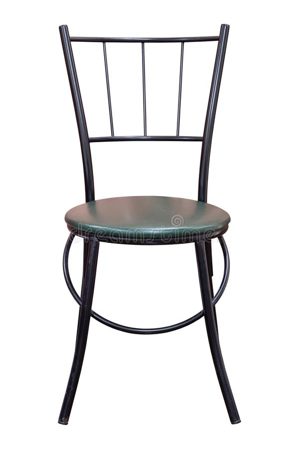 Front View of Black Metal Chair with Leather Seat Isolated on White. Background with Clipping Path royalty free stock photos