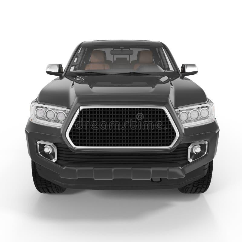 Front view Black Pick up Truck on white. 3D illustration stock illustration
