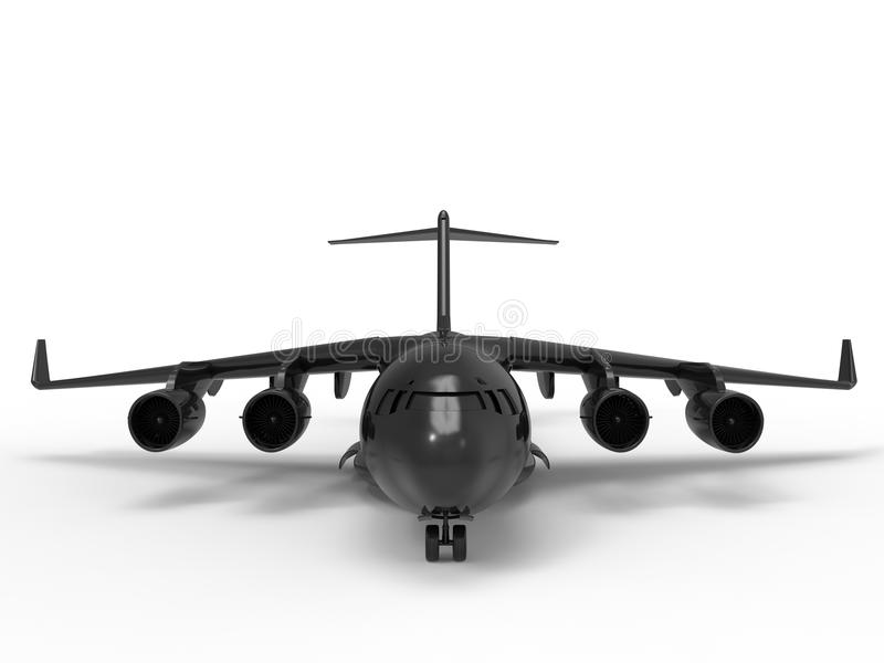 A front view of a black plane vector illustration