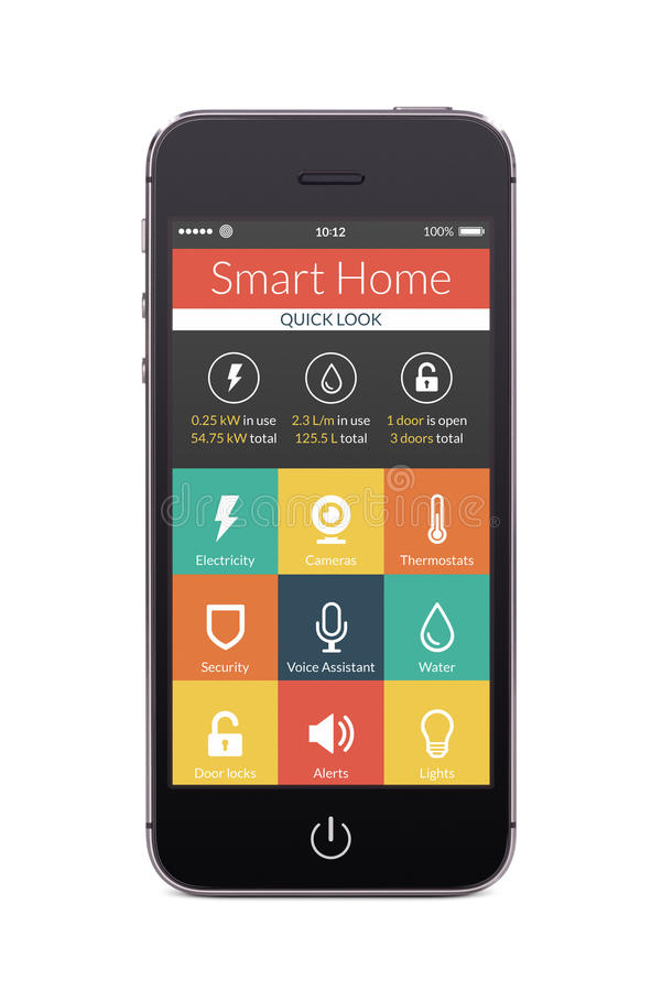 Front view of black smart phone with smart home application on t. Directly front view of black smart phone with flat design smart home application on the screen royalty free illustration