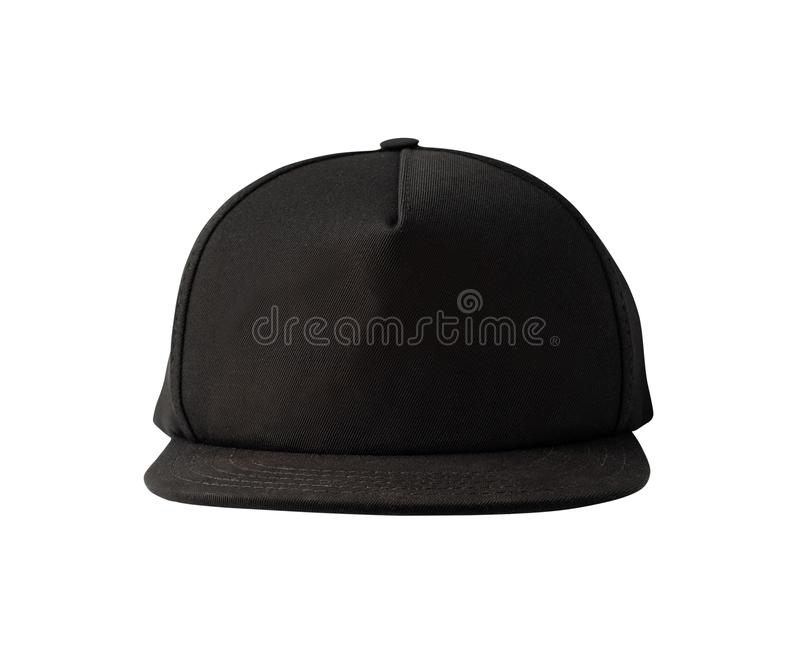 Front view of black snapback cap. Isolated on white background. Blank baseball cap or trucker hat royalty free stock image