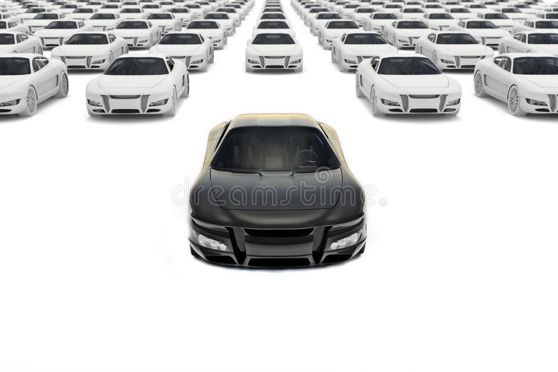 Front view of black sports car leaving the pack