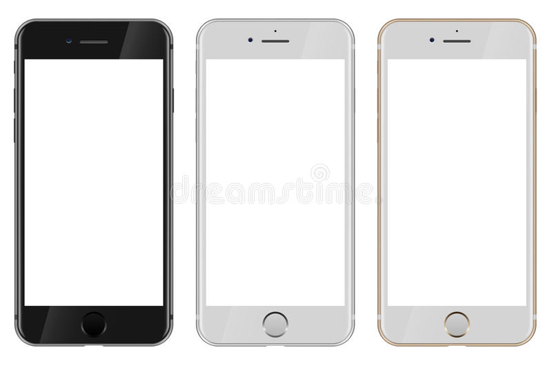 Front view of black, white and gold Apple iPhone 7 with blank white screen stock illustration