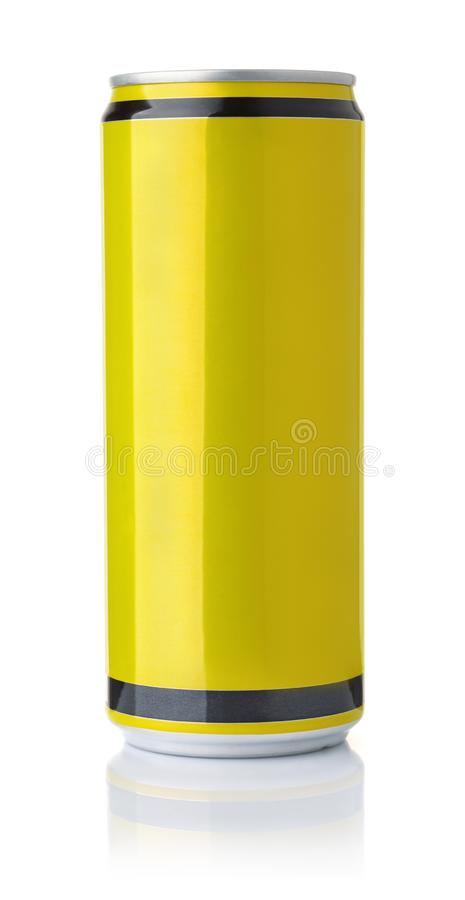 Front view of blank yellow drink can stock photography