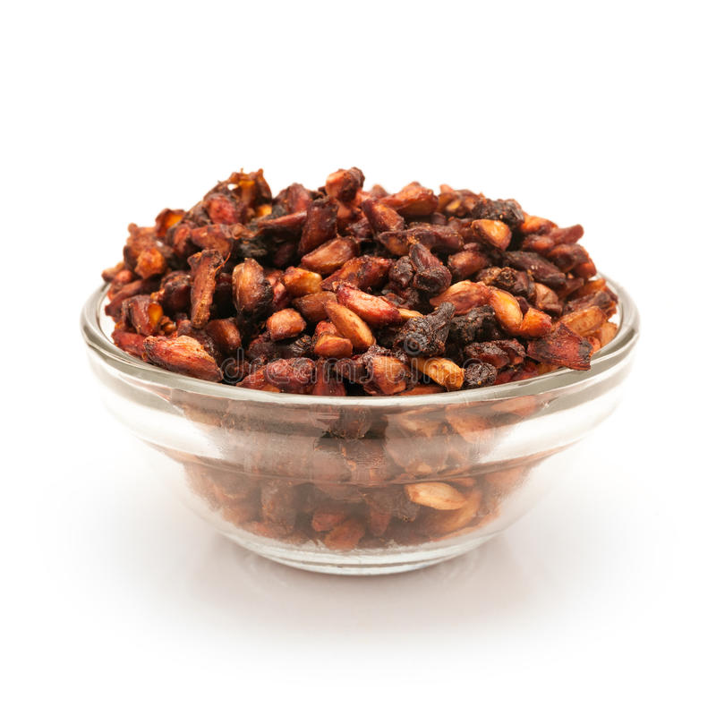 Front view of Bowl of Organic Dried Pomegranate. stock images