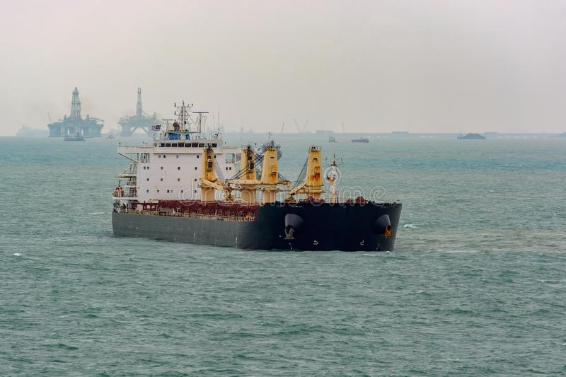 Front view of bulk carrier vessel. stock photo