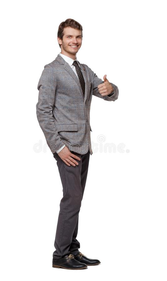 Front view of business man thumbs up stock image