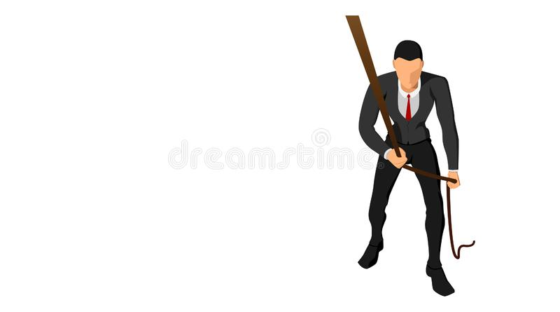 Front view of a businessman pulling a rope with his hand. business background template vector file design royalty free illustration