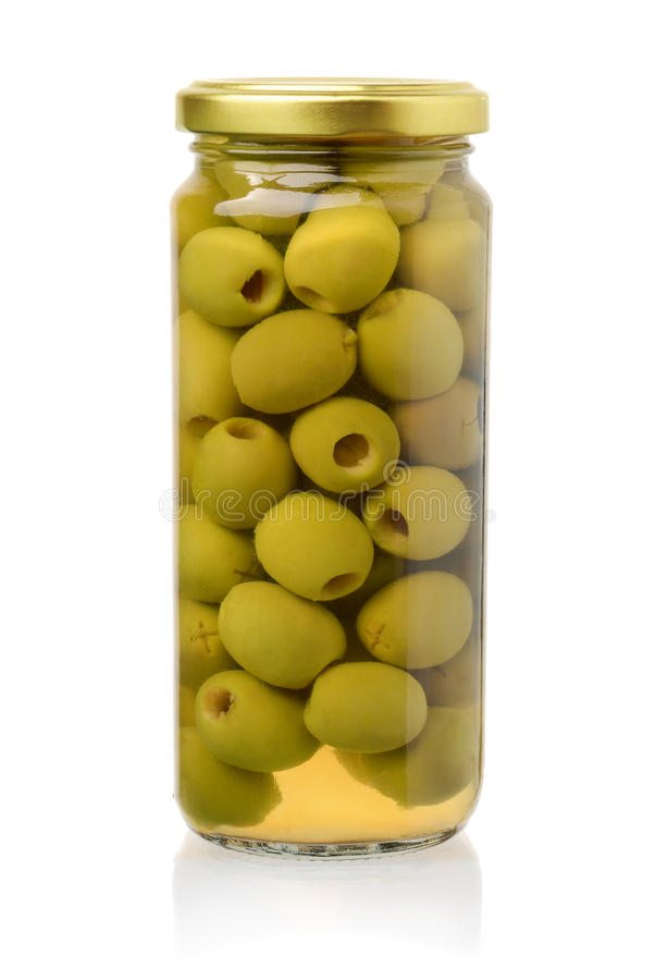 Front view of canned green olives stock image