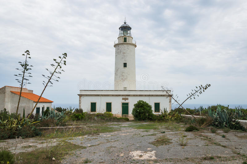 Cap Barbaria Lighthouse. A front view of Cap Barbaria lighthouse at Formentera stock photography