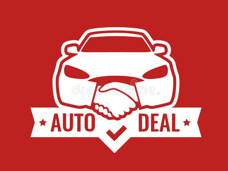 Front view of Car with Handshakes - Creative Emblem. Auto Deal - Logo for car Dealership. Front view of Car with Handshakes - Creative Emblem, Badge, Sticker vector illustration
