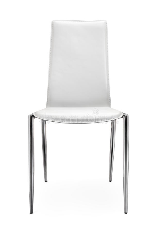 Front view of chair made of leather and steel royalty free stock image