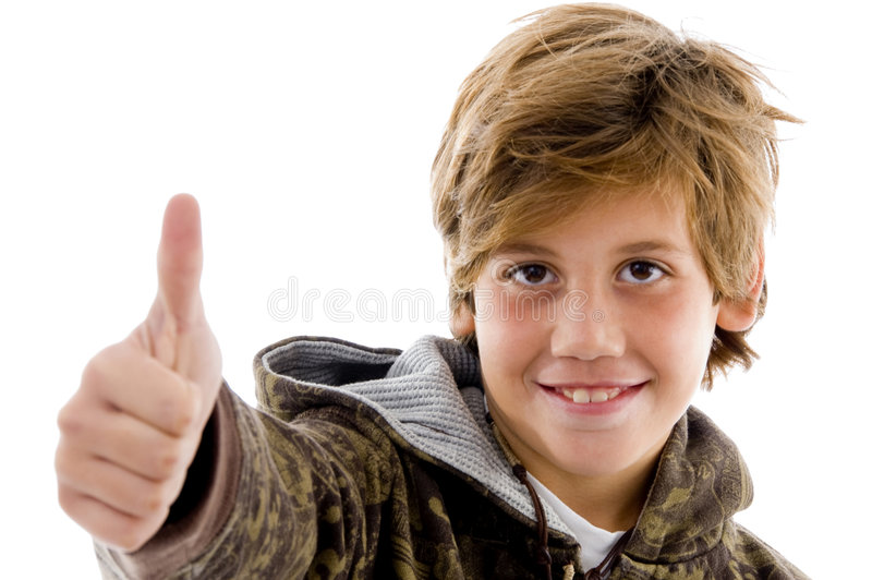 Download Front View Of Cheer Kid With Thumbs Up Stock Photo - Image: 7417452