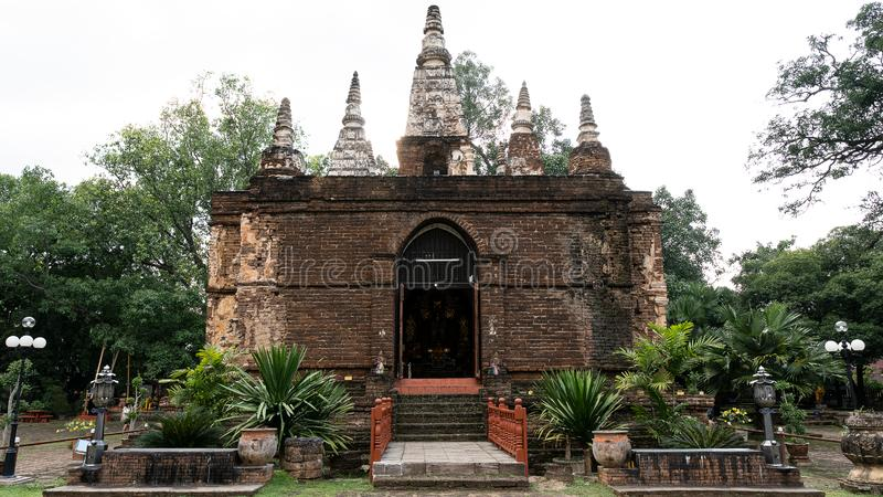 Front view of Chet Yod Temple, stock photos