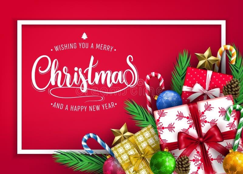 Front View Christmas Holiday Banner design med att önska dig glad jul stock illustrationer