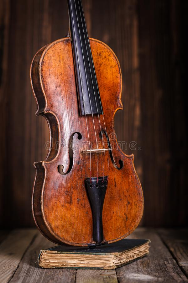 Front view of a classical old violin royalty free stock photos