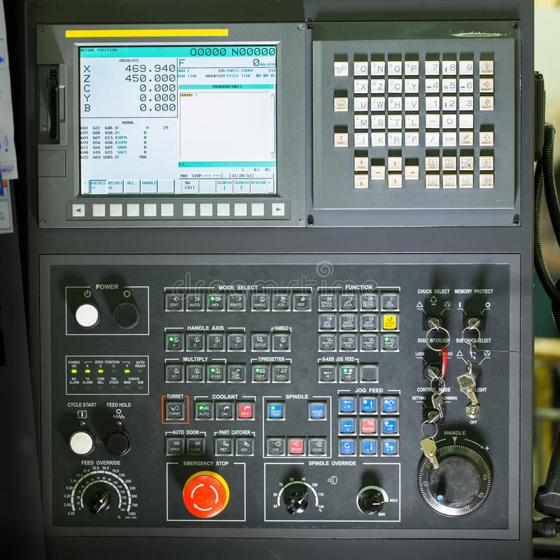 Front view on cnc milling machine control panel. With display royalty free stock photography