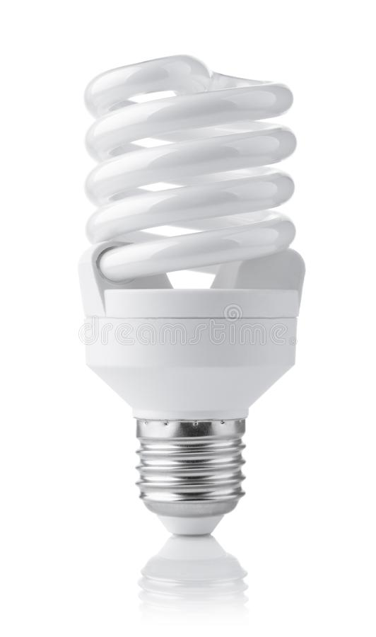 Front view of compact fluorescent lamp. Isolated on white royalty free stock photo