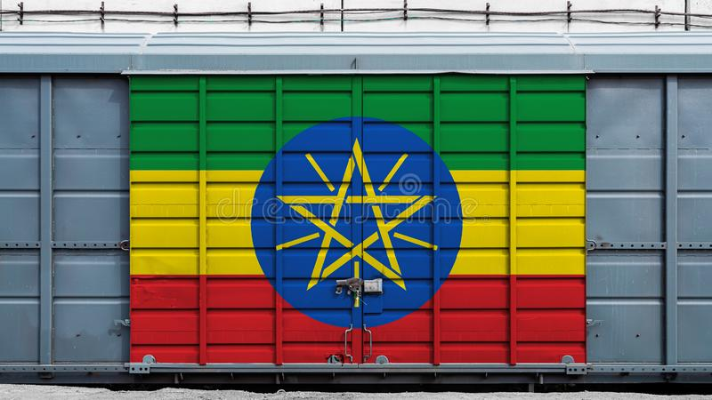 Front view of a container train royalty free stock photo