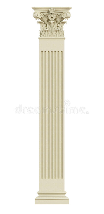Front view of Corinthian column. Isolated on white - 3d rendering stock illustration