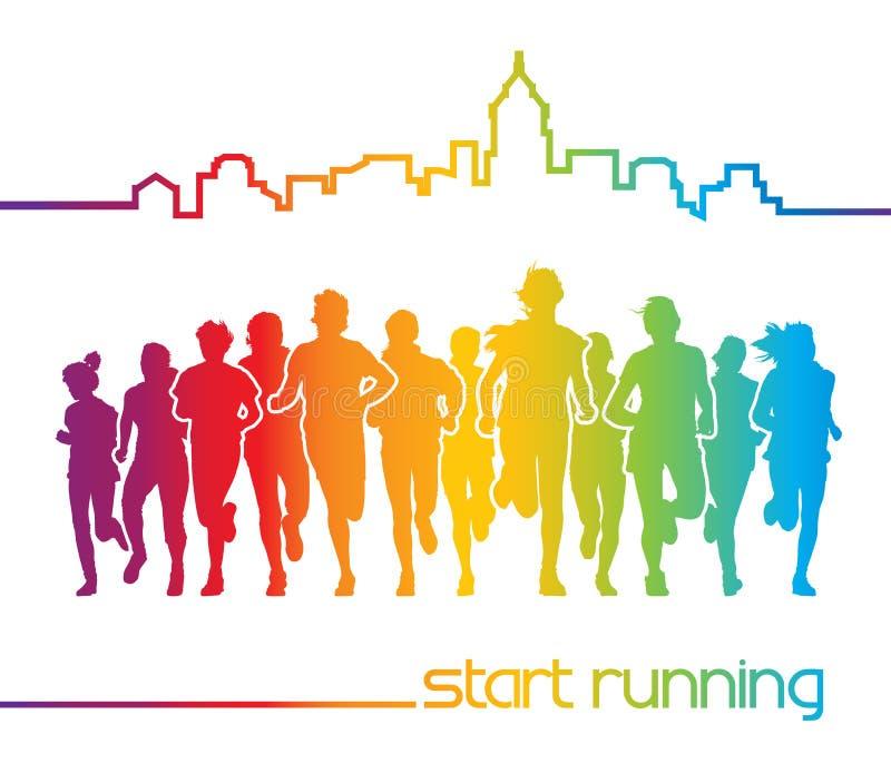 Running people royalty free illustration