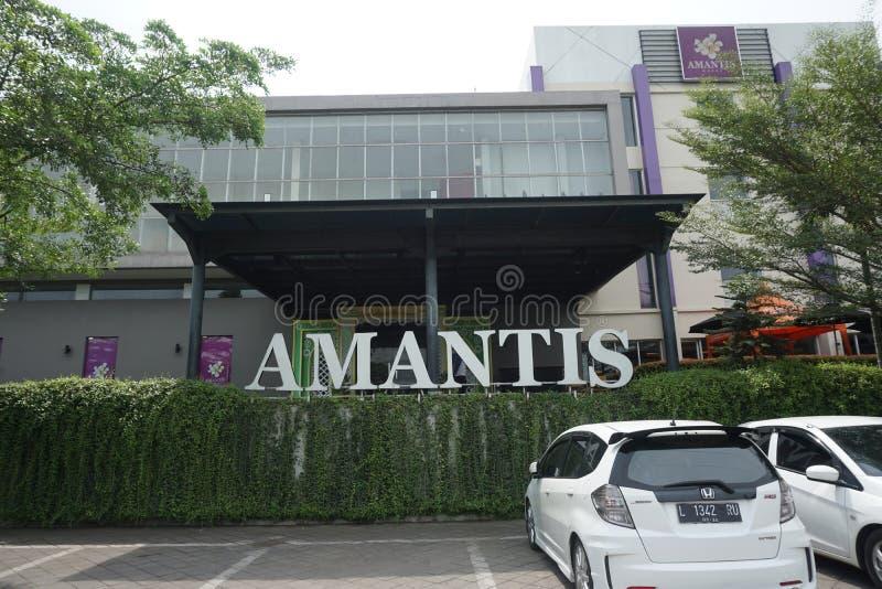 Front View d'hôtel d'Amantis dans la rue de Lingkar Demak-Kudus, Demak, Java-Centrale, Indonésie image stock