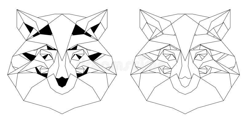Front View d'icône triangulaire de tête de renard illustration de vecteur