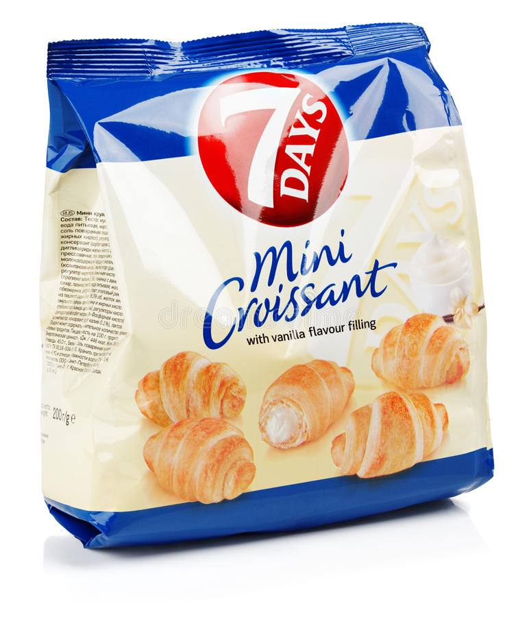 Front view of 7DAYS Mini Croissant vanila flavour isolated on white background royalty free stock photo