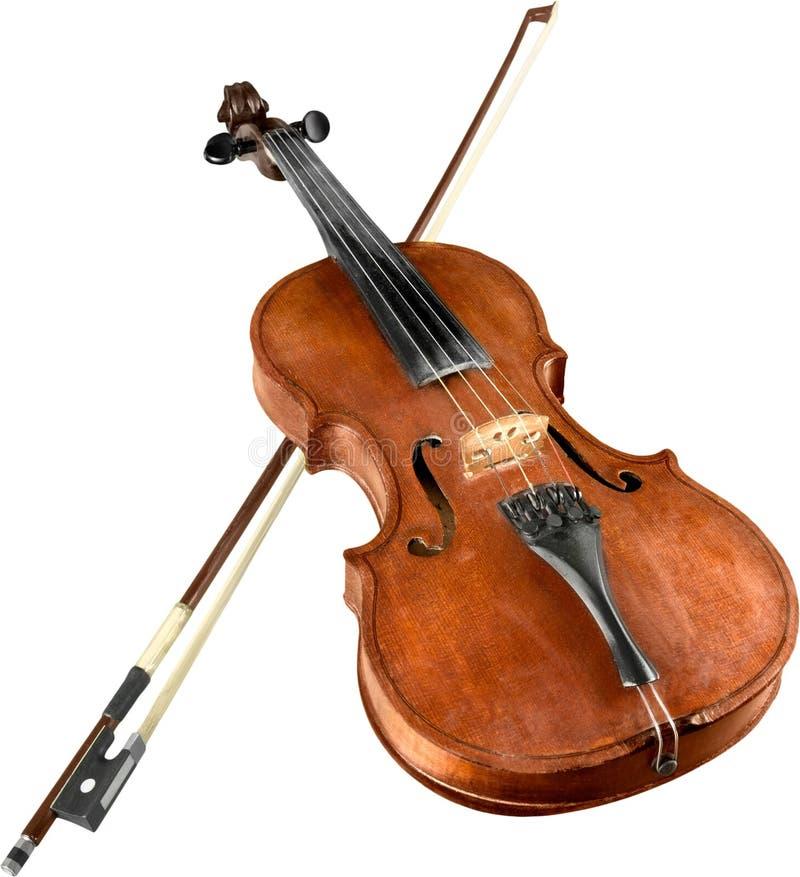 Front View de un violín con el arco, aislado imagenes de archivo
