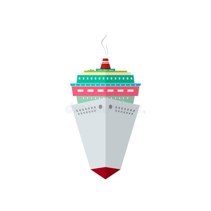 Front View del barco de cruceros stock de ilustración