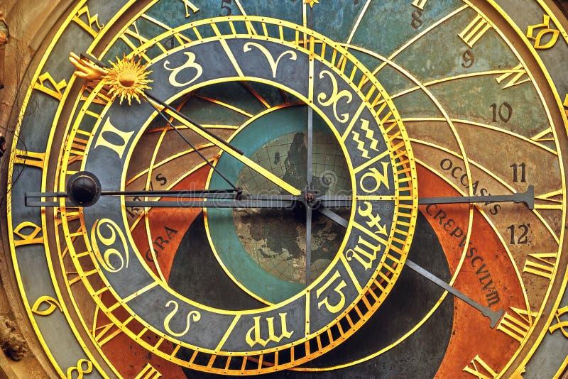 Front View Detail av Prague den astronomiska klockan royaltyfria bilder