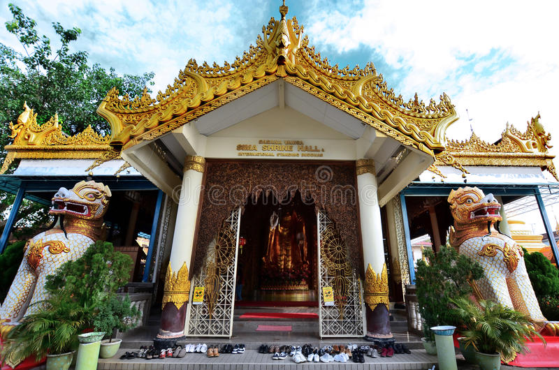 Front view of the Dhammikarama Burmese Buddhist Temple stock photography
