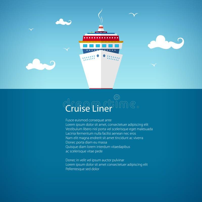 Front View du bateau de croisière, affiche illustration libre de droits