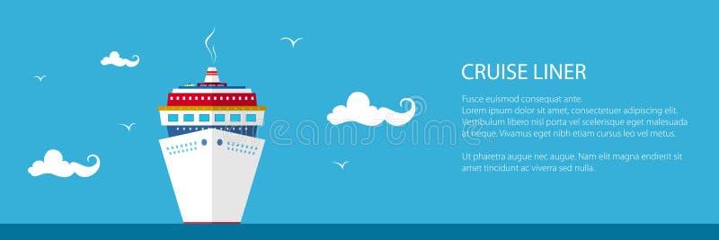 Front View du bateau de croisière, bannière illustration libre de droits