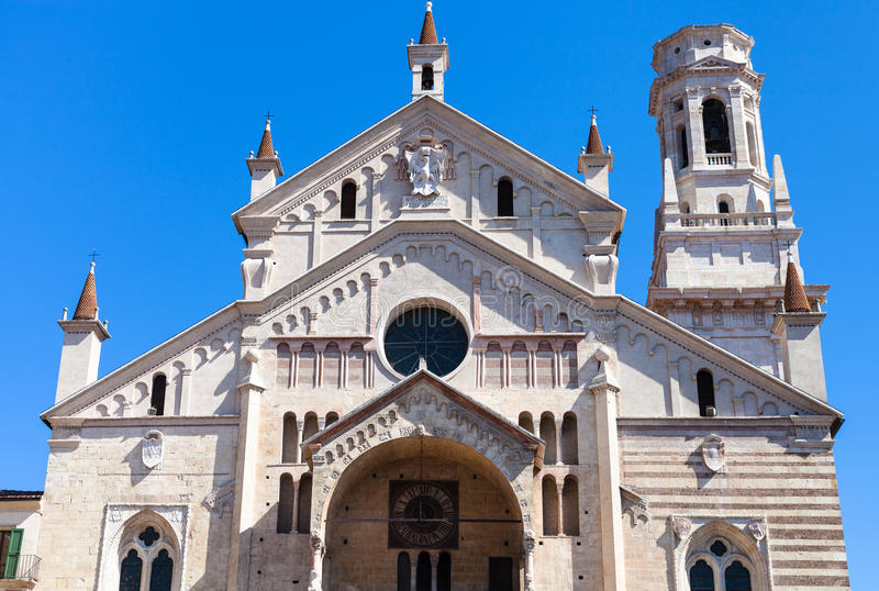 Front view of Duomo Cathedral in Verona city stock photo