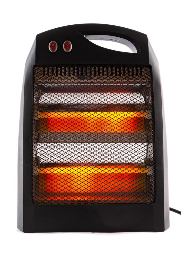 Front view electric heater working on white stock images