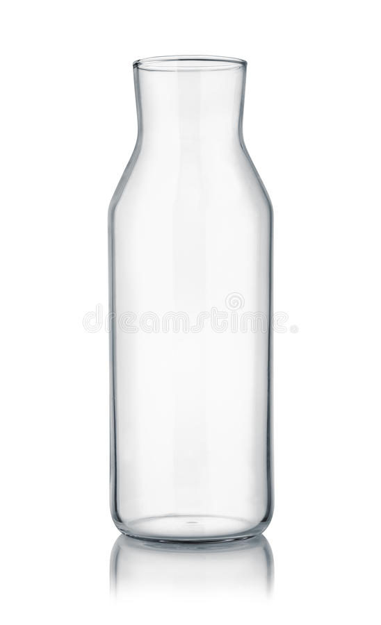 Front view of empty glass carafe. Isolated on white stock images