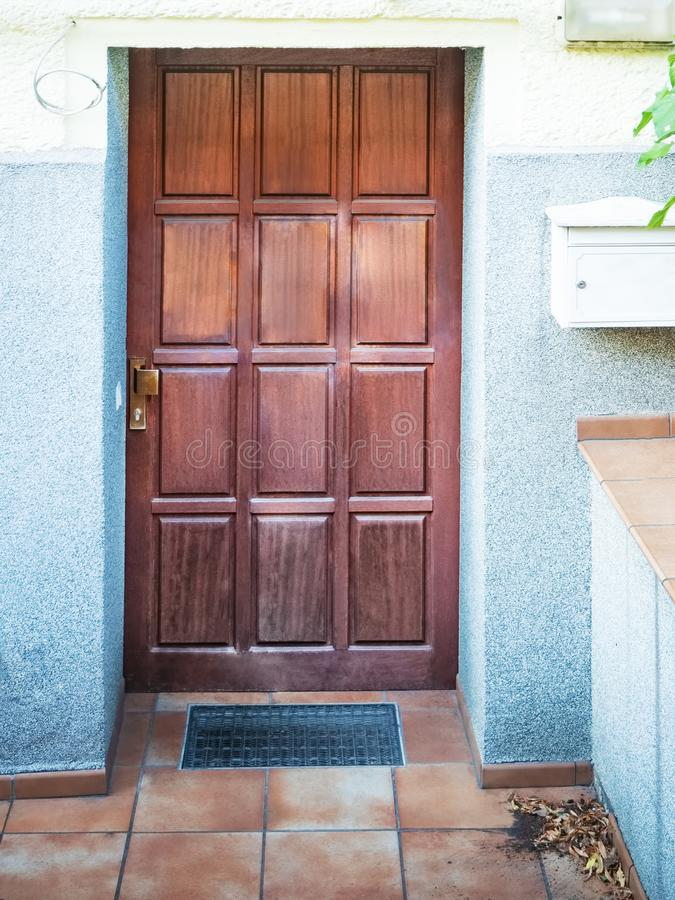 Front view of the entrance door stock photos