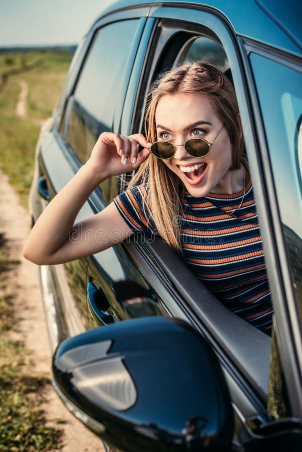 front view of excited young woman stock photos