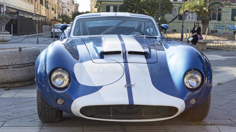 Front view of the famous American racing car model Kellison in blue and white color. Rome,Italy - July 21, 2019:On occasion of  Rome capital city Rally event, an royalty free stock photography