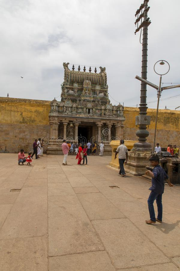 CHENNAI, INDIA - August 18, 2019: front view of the famous ancient temple of Thiruvarur Famous Tourist Places, India. Front view of the famous ancient temple of royalty free stock photography